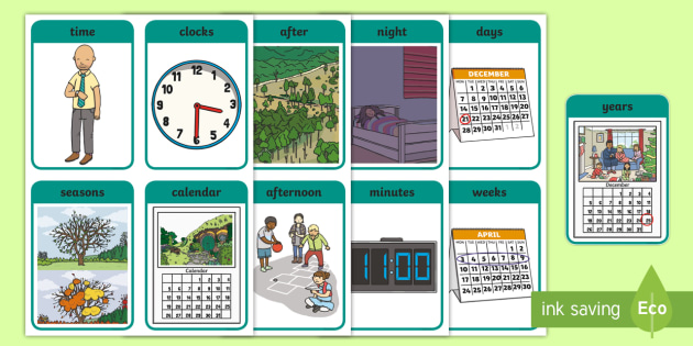CfE Early Level Numeracy and Mathematics Time Keyword Flashcards - Wall Display, keywords, MNU 0-10a, language of maths, vocabulary, word wall,Scottish