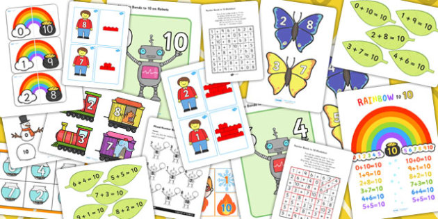Number Bonds to 10 Pack - number bonds, pack, 10, maths, numbers