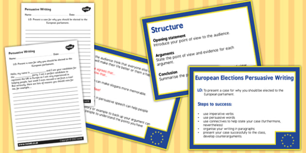 European Elections Voting Persuasive Writing PowerPoint and Sheet