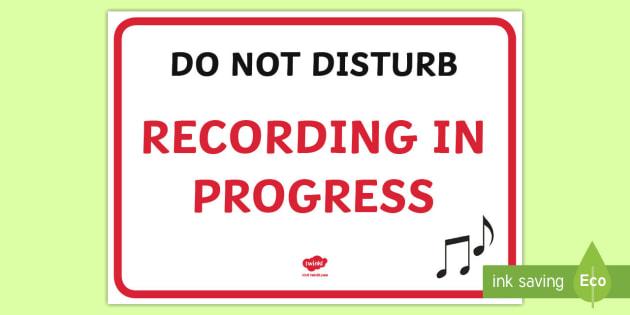 Recording In Progress Sign - recording, sign, progress, label, audio, filming