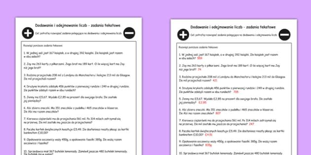 Zadania tekstowe Dodawanie i odejmowanie po polsku