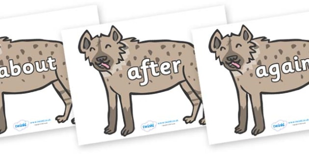 KS1 Keywords on Hyenas - KS1, CLL, Communication language and literacy, Display, Key words, high frequency words, foundation stage literacy, DfES Letters and Sounds, Letters and Sounds, spelling