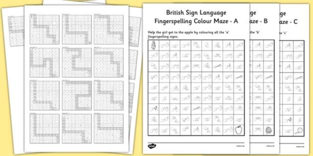 British Sign Language Fingerspelling Colour Maze Alphabet Pack