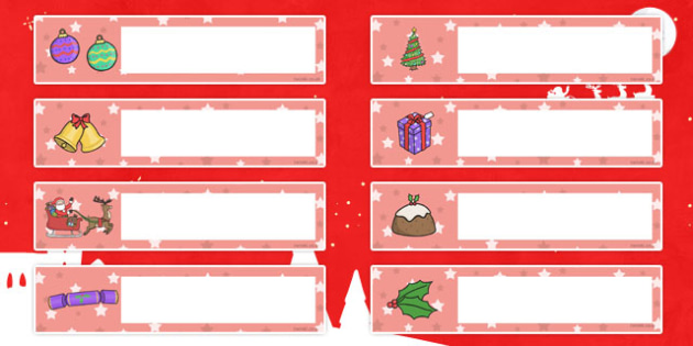 Christmas Themed Editable Gratnells Tray Labels - tray labels
