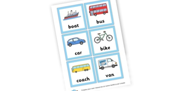 Vehicles Cards - Transport Literacy Primary Resources, letters, letter, sounds