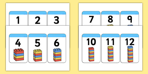Build A Tower 1-20 Building Block Number Cards - counting, counting aid, numeracy, Counting, numbers to 20, one to one, numeral recognition