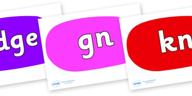 Silent Letters on Speech Bubbles (Multicolour) - Silent Letters, silent letter, letter blend, consonant, consonants, digraph, trigraph, A-Z letters, literacy, alphabet, letters, alternative sounds