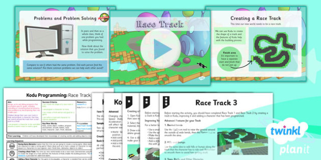 PlanIt Computing Year 6 Kodu Programming Lesson 5 Race Track Lesson Pack - ks2, uks2, key stage, junior, computers, it, itc, ict, programme, program, software, skills, resources, display, presentation, planning, notes, idea, information, game, design