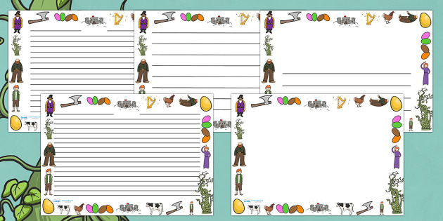 Jack and the Beanstalk Full Page Border (Landscape) - page border, border, frame, landscape, landscape page borders, writing frame, writing template, jack and the beanstalk, jack and the beanstalk page borders, writing aid, writing, A4 page, page edg