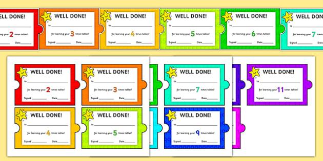 Maths Times Table Jigsaw Certificates - maths, times table, jigsaw, certificates