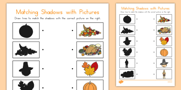 Thanksgiving Shadow Matching Worksheet - usa, america, worksheets, shadows