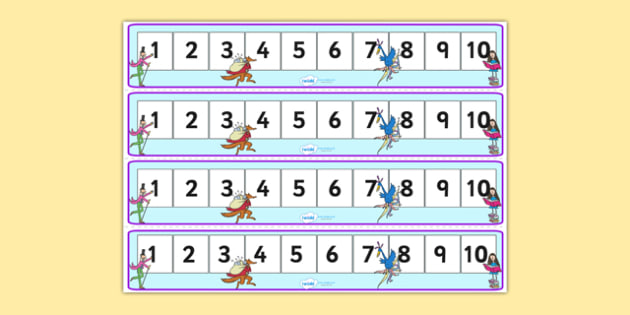 Roald Dahl Number Tracks 1 10 - roald dahl, numberlines, roald dahl numbertrack, numbertrack 1-10, roald dahl themed numberline 1-10, roald dahl themed