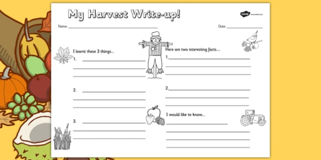 Harvest Write Up Worksheet - autumn, seasons, writing, review