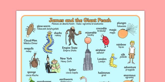 James and the Giant Peach Word Mat Polish Translation - polish, word mat, james and the giant peach, giant peach word mat, word, mat, story book, topic words, key words, word list