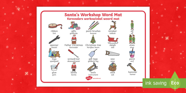 Santa's Workshop Word Mat English/Afrikaans - Santa's Workshop Word Mat - Christmas, xmas, Santas workshop, grotto, Word mat, writing aid, elf, e