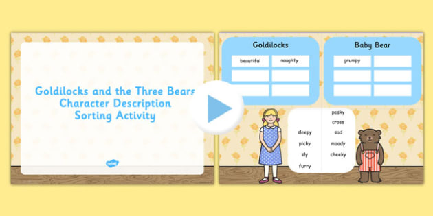 Goldilocks Three Bears Character Describe Sort Activity Notebook