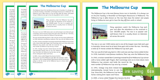 Melbourne Cup Differentiated Fact File