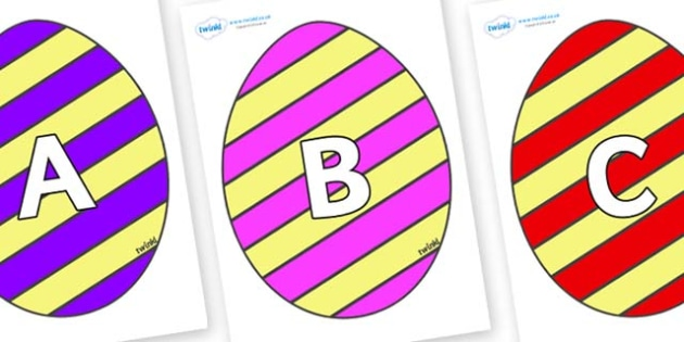 A-Z Alphabet on Easter Eggs (Stripes) - A-Z, A4, display, Alphabet frieze, Display letters, Letter posters, A-Z letters, Alphabet flashcards