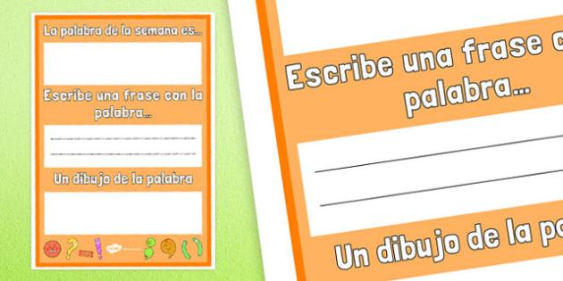 La palabra de la semana es... Poster Spanish - spanish, the word of the week, poster, display, display poster