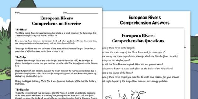 European Rivers Reading Comprehension Activity - river, worksheet