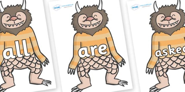Tricky Words on Wild Thing (1) to Support Teaching on Where the Wild Things Are - Tricky words, DfES Letters and Sounds, Letters and sounds, display, words
