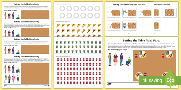 Workstation Pack: Setting the Table Pizza Party Activity Pack - Workstation Packs, TEACCH, autism, ASD, ASDAN, setting the table, maths p4, maths p5, p scales, life