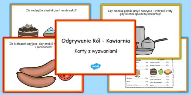 Karty z wyzwaniami Kawiarnia po polsku - odgrywanie ról