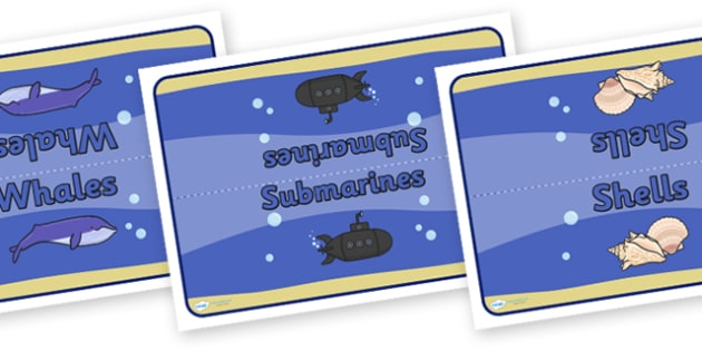Editable Class Table Group Signs (Under the Sea) - Sea, seaside, group signs, group labels, group table signs, table sign, teaching groups, class group, class groups, table label