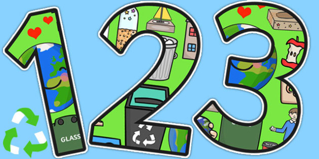 Recycling Themed Display Numbers - recycle, environment, display