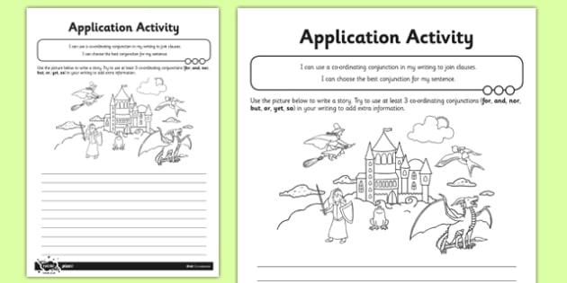 Co-ordination Application Activity Sheet - conjunctions, subordination, subordinating conjuctions, joining sentences, clauses, worksheet