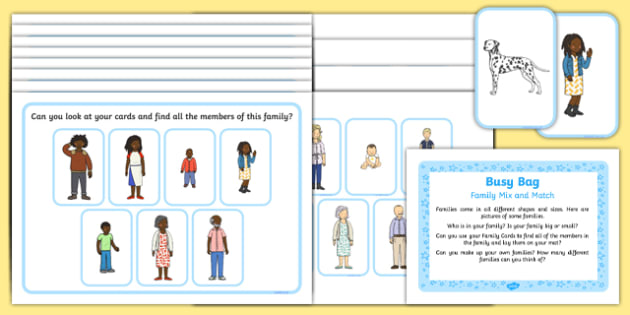 Family Mix and Match Busy Bag Prompt Card and Resource Pack