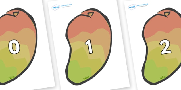 Numbers 0-50 on Mangoes - 0-50, foundation stage numeracy, Number recognition, Number flashcards, counting, number frieze, Display numbers, number posters