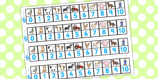 Farmer and Duck Number Track 0-10 - farmer duck, number tracks, 0-10, farmer duck number tracks, themed number tracks, numeracy, maths, number line, counting