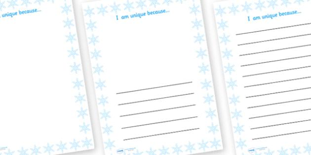 I Am Unique Because Snowflake Writing Frame - I am unique, ourselves, all about me, writing frames, writing templates, writing aid, line guide, writing