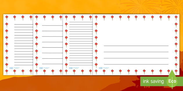 Chinese Lantern Landscape Page Borders- Landscape Page Borders - Page border, border, writing template, writing aid, writing frame, a4 border, template, templates, landscape