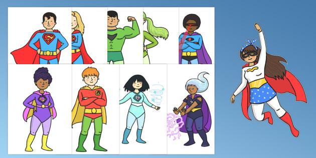 Superhero Cut Outs - superhero, cut outs, cut, outs, display, activity