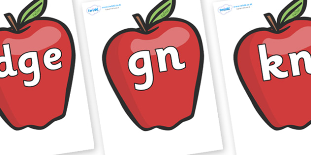 Silent Letters on Red Apples - Silent Letters, silent letter, letter blend, consonant, consonants, digraph, trigraph, A-Z letters, literacy, alphabet, letters, alternative sounds