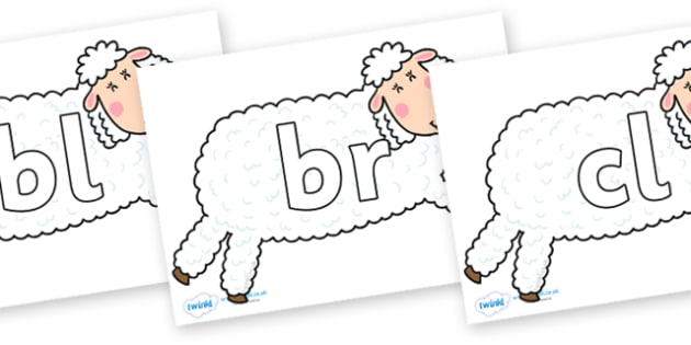 Initial Letter Blends on Hullabaloo Sheep to Support Teaching on Farmyard Hullabaloo - Initial Letters, initial letter, letter blend, letter blends, consonant, consonants, digraph, trigraph, literacy, alphabet, letters, foundation stage literacy