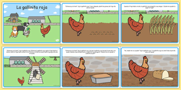 La gallinita roja The Little Red Hen Story Spanish - spanish, Little Red Hen, Traditional tales, tale, fairy tale, little red hen, cat, dog, horse, grain, wheat, flour, bread, no I, I will