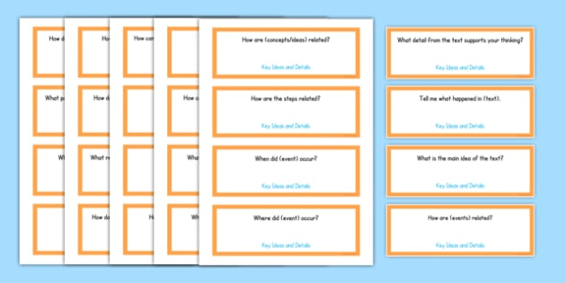 Common Core Second Grade Reading Informational Text Question Stem Cards USA - American, comprehension, prompts, story, non-fiction, English
