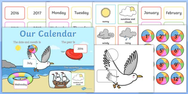 Seaside Themed Display Calendar - seaside, display, calendar, display calendar