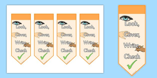 Look Cover Write Check Bookmarks - look, cover, write, check, bookmarks, display