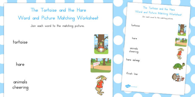 The Tortoise and the Hare Word and Picture Match - matching