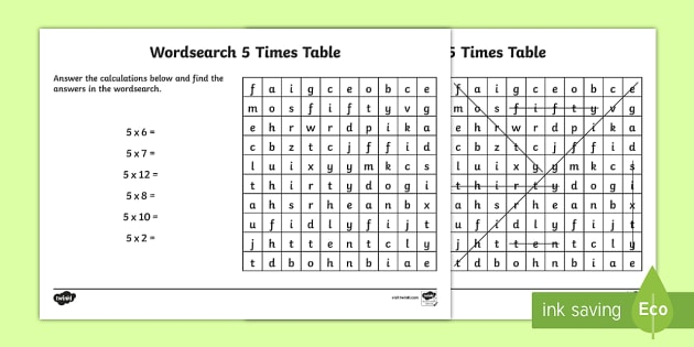 Multiplication 5 Times Tables Wordsearch Worksheet