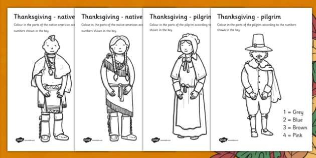 Thanksgiving Colour by Number - numbers, colouring, activity