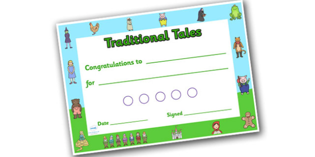 Traditional Tales Sticker Reward Certificate 15mm - reward certificate, sticker reward certificate, traditional tales reward certificate, traditional tales