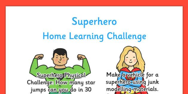EYFS Superhero Themed Home Learning Challenge Sheet Nursery FS1