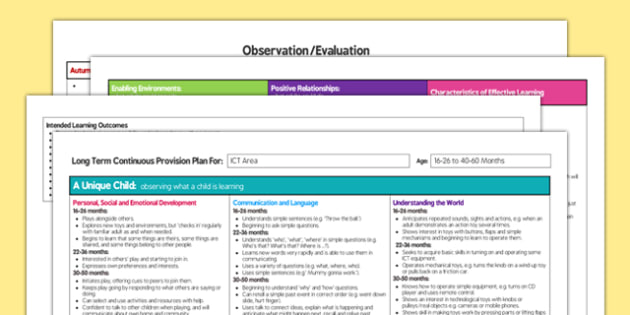 ICT Area Editable Continuous Provision Plan 16-26 to 40-60 Months