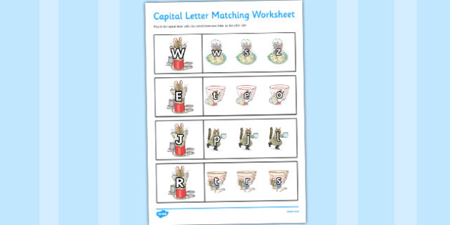 The Tailor of Gloucester Themed Capital Letter Matching Worksheet