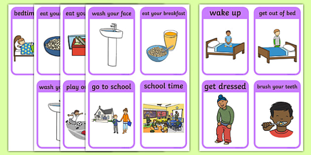 Daily Routine Cards (Boys) - daily routine, education, home school, child development, children activities